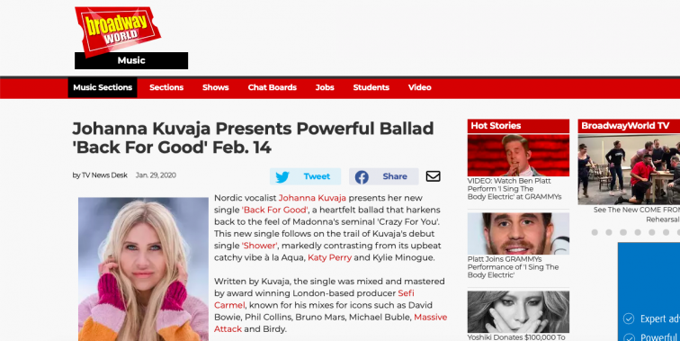 "Broadway World ""Back for Good"" feature"